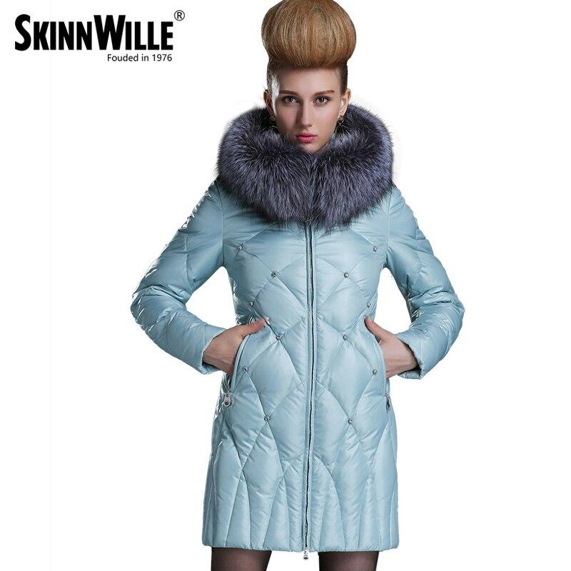 Skinnwille 2018 nouveaux manteaux d'hiver MS longtemps même la jugulaire colliers en hiver