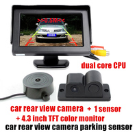 3 In 1 Auto Parking Assist System 4.3 Inch HD Monitor Parking Sensor camera Car Rear View Camera with sensors Car styling