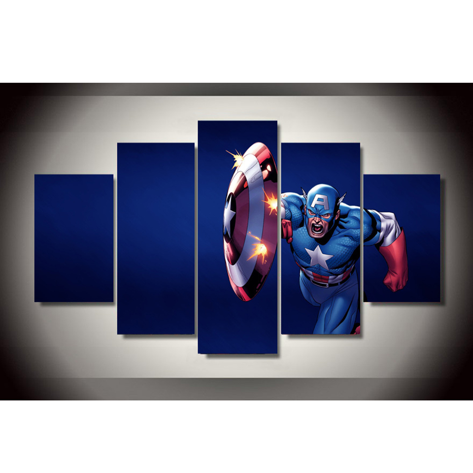 Captain America Wall Art popular captain america 5 panel wall art-buy cheap captain america