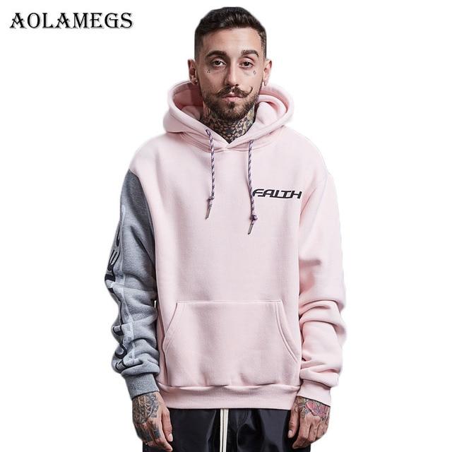 Aolamegs Hoodies Men Patchwork Hood Couple Pullover High Street Cotton  Fashion Hip Hop Streetwear Casual Pocket
