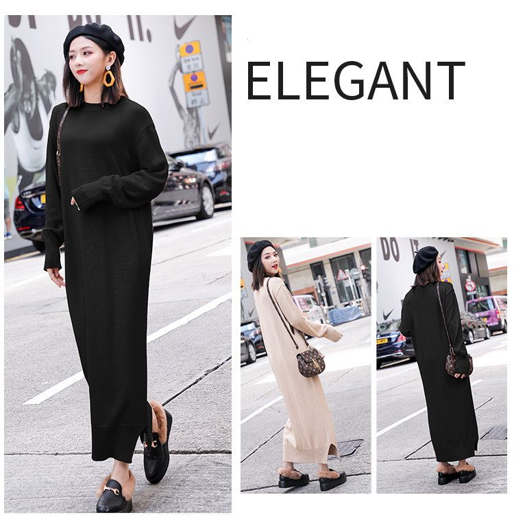 791b83100f4 Long Sleeve Maxi Dress Women Autumn Winter Lazy Wind Casual Loose Sweater  Dress O-Neck Bottom Slit Long Knitted Dress robe pull