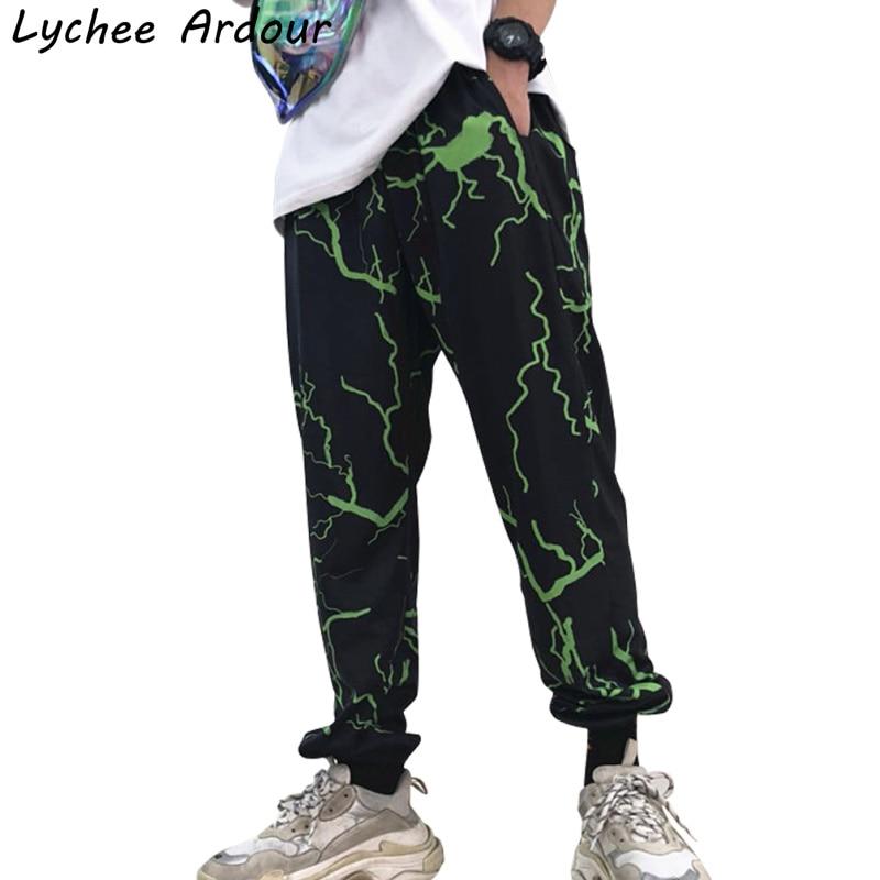 Harajuku Lightning Pants Pocket Elastic Waist Trousers Summer Casual Streetwear Unisex