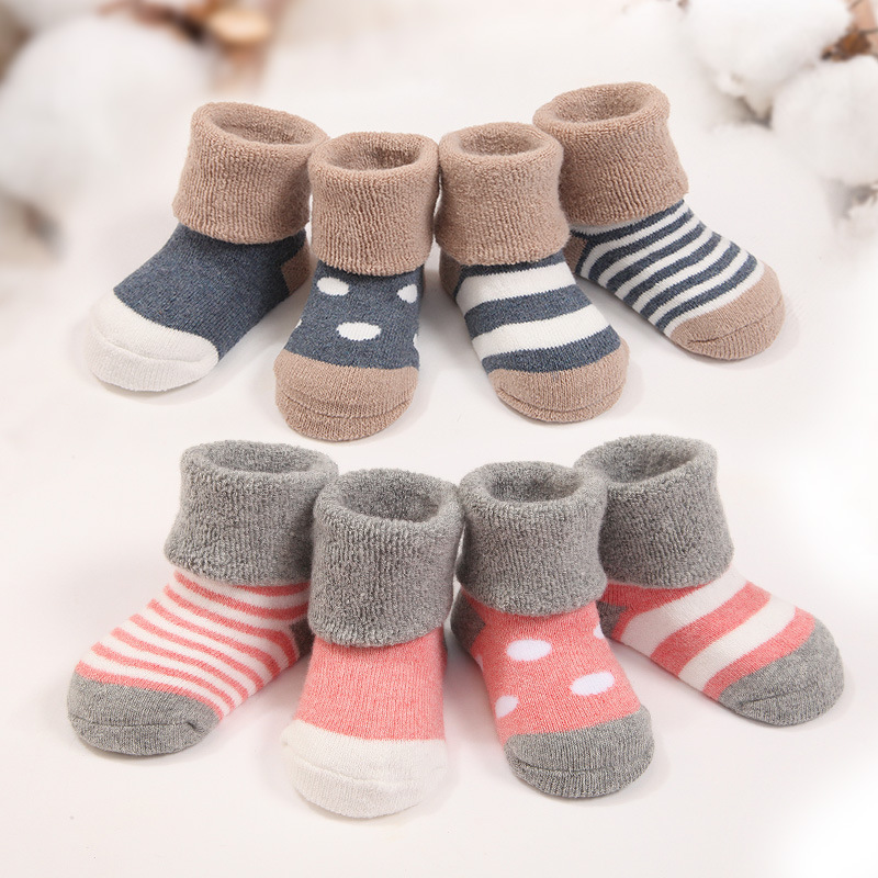 4pairs/lot Warm Winter Baby Socks Cute Soft Autumn Newborn Baby Girls Socks Stripes & Dots Baby boy Shoe Socks