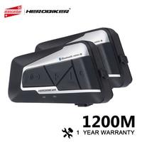 HEROBIKER Motorcycle Intercom Moto Helmet Waterproof Wireless Bluetooth Headset Moto Headset With FM Radio For 2 Rides 1200M