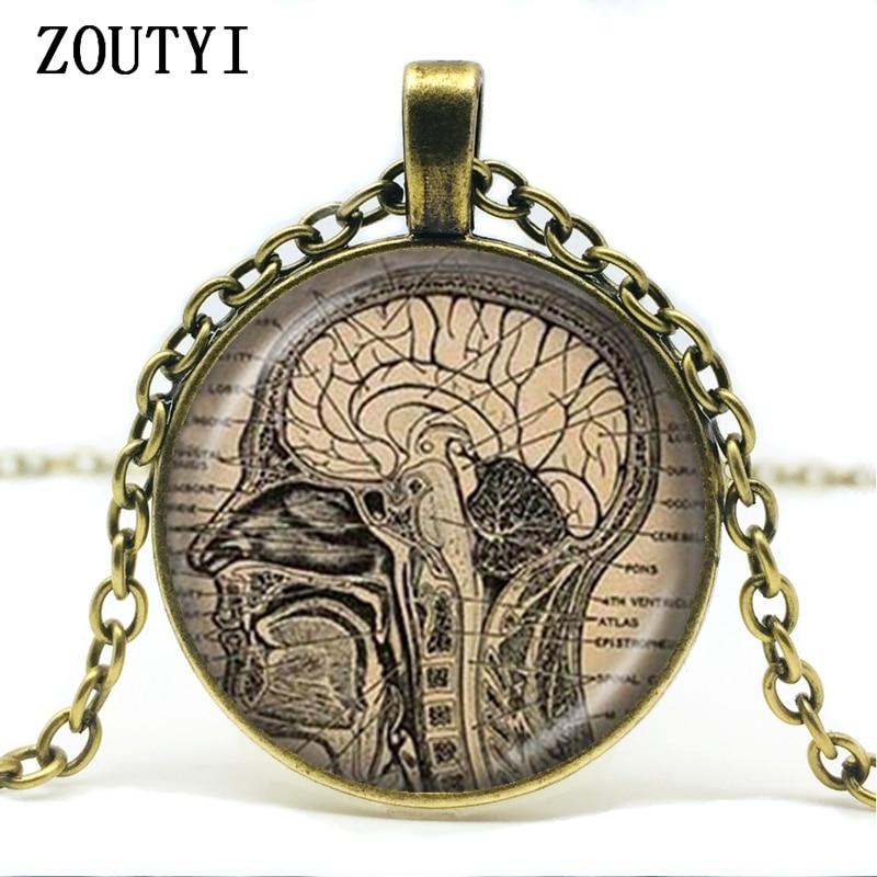 Anatomical Brain Bead Necklace Tibetan Silver Pendant For Women Girl Necklace