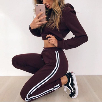 Women's Tracksuits 2 Piece Set Pink Crop Top And Pants Fashion 2019 Autumn Casual Lady Tumblr Long Sleeve Hoodies Pants Suit 1