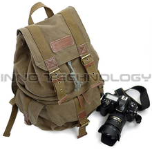 Canvas DSLR Digital SLR Camera Photo Bag Waterproof Backpacks with Paitition Padded Photography Backpacks for Outdoor Travel