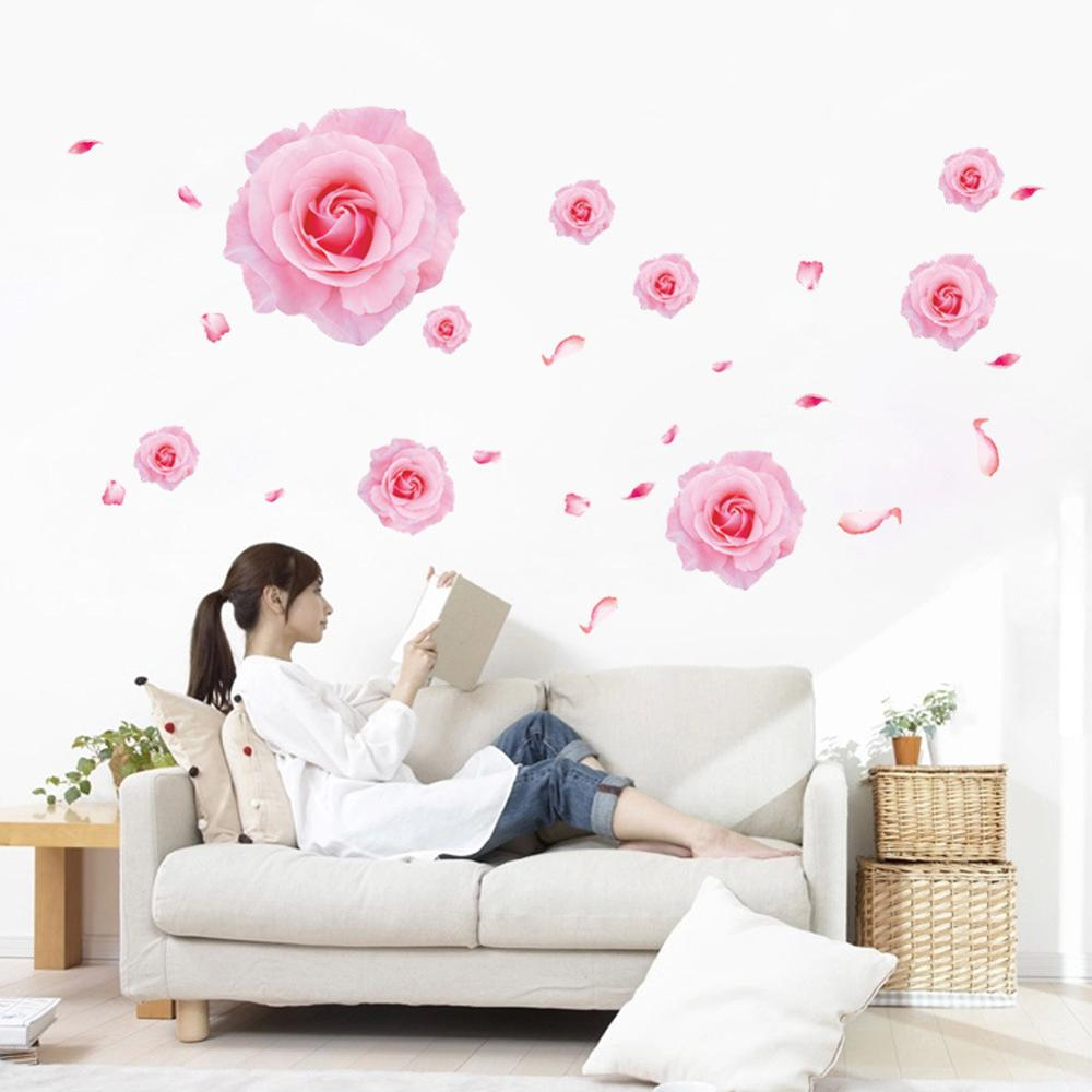pink nurseries promotion shop for promotional pink nurseries on pink roses pattern nursery wall stickers living room bedroom sofa tv background wall decoration stickers