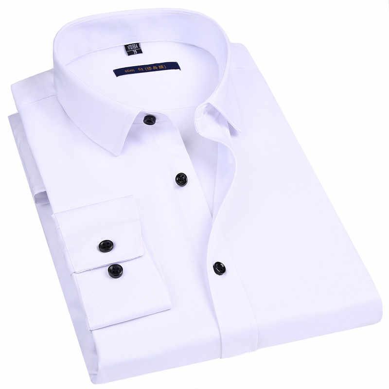 弾性スリムフィット男性長袖シャツ白黒青赤男性社会フォーマルシャツ古典的なソリッドカラーデザイン
