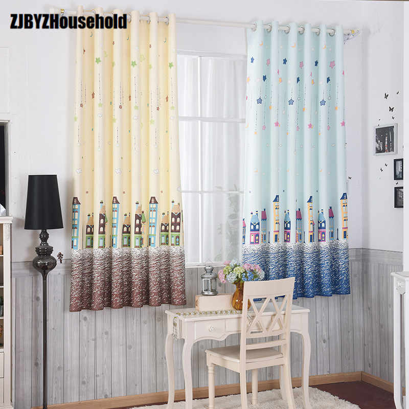Cartoon Boy Blue Coffee House Window Shade Printing Short Window Curtains for Children Room Baby Room