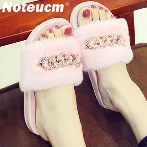 8714cdada Noteucm Female summer lady mule slide fluffy shoes flat