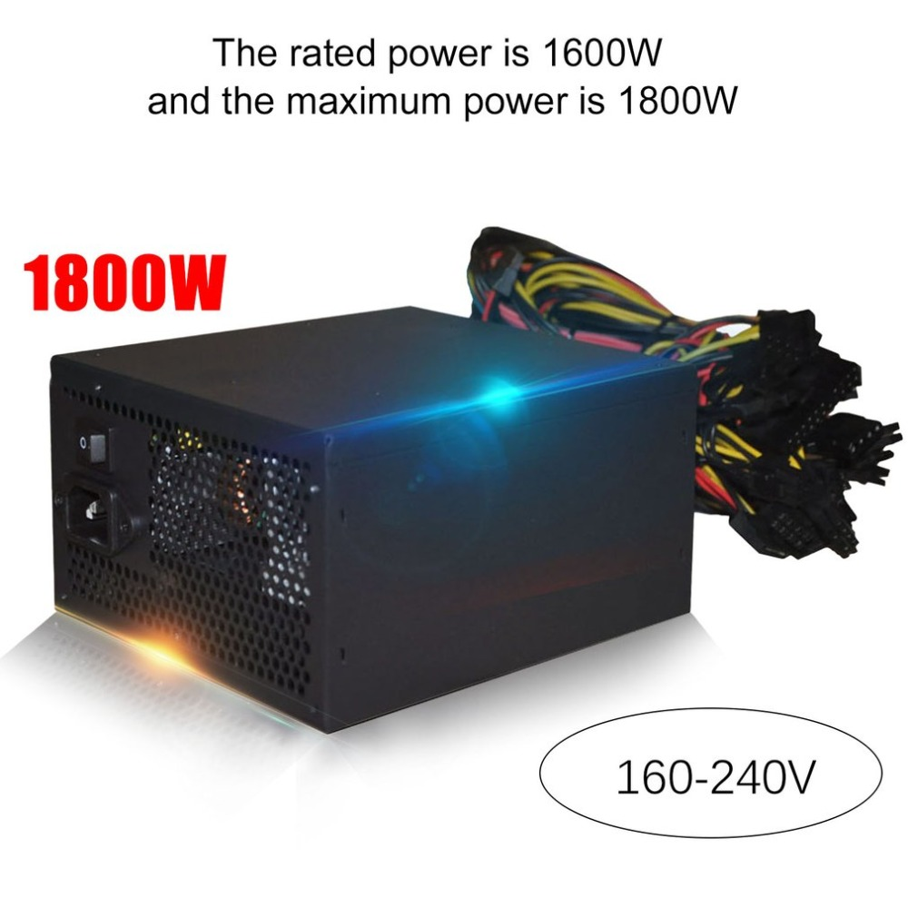 LESHP 1800W ATX Modular Mining Power Supply For ETH BTC Rig Ethereum Coin Miner Supports 6 Graphics Card 160-240V Power Supply 1600w bitcoin atx modular power for eth rig ethereum coin miner mining power supports 6 graphics overclocking 1600w power supply