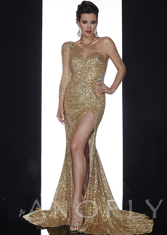 Mzye0059 One Shoulder Long Sleeve Gold Sequin Dress Abendkleider 2017 Evening Online Ping In Dresses From Weddings Events On