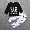 2016 Novo bebê menino roupas conjuntos de roupas infantis longo-manga comprida T-shirt + calças 2 pcs terno para o bebé
