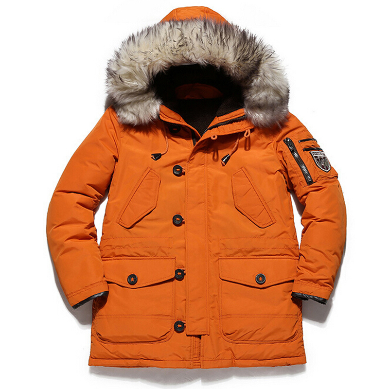 New Arrival Winter Men Down Jackets Thick Warm Long <font><b>White</b></font> Duck Down Jackets With Hooded casaco masculino Brand Clothing