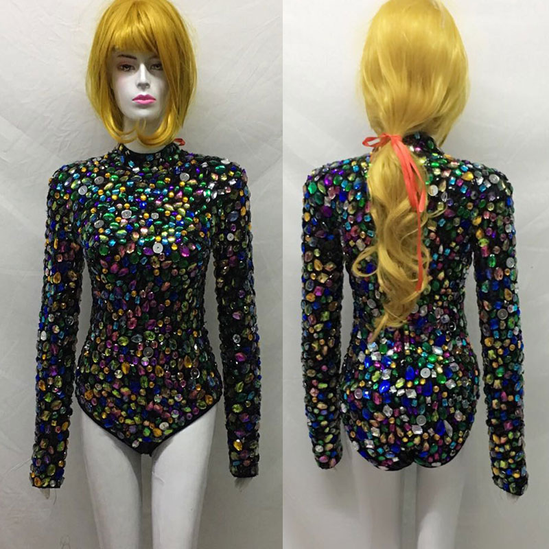 Hand-stitched Multicolor full crystals Leotard long Sleeves Sexy Stage Performance Costumes luxurious Rhinestones Bodysuit