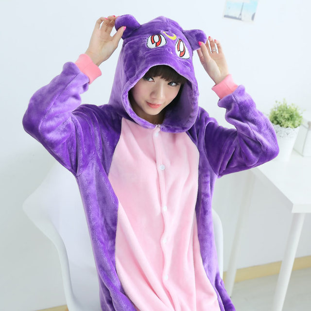 Anime Sailor Moon luna Kigurumi Pajamas For Women Adult Winter Animal Purple Cat Sleepwear Cartoon Pyjama Unisex Home Pijama