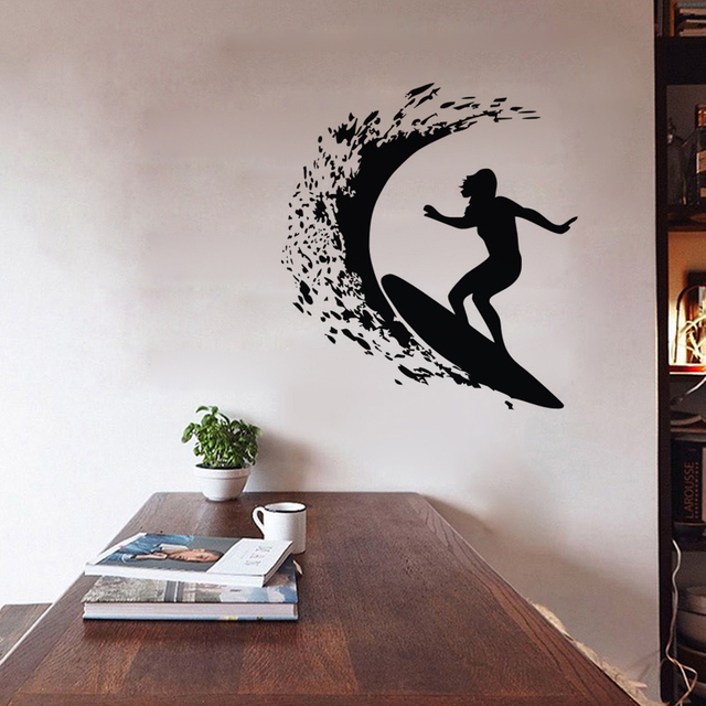Surfing Wall Stickers Home Decor Sports Vinyl Wall Decals Removable ...