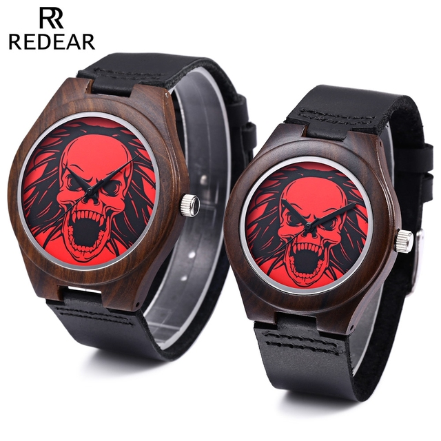 EDEAR Couple Quartz Watch Skull Pattern Dial Imported Movt Wooden Case Leather Band Wristwatch