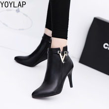2018 New Women Spring Autumn Ankle Boots Fashion Thin High Heels Martin Boots  Lady Work Wear Shoes Black Grey Red Green Solid a9dc3a23f169