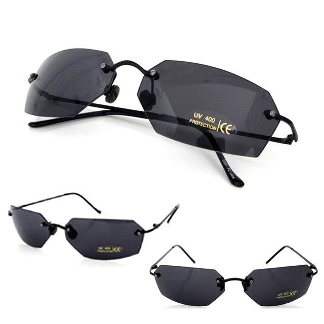 4771f5d722 Matrix Morpheus Sunglasses Movie sunglasses men 15.9 g Ultralight Rimless  Classic Oval glasses Oculos Gafas De