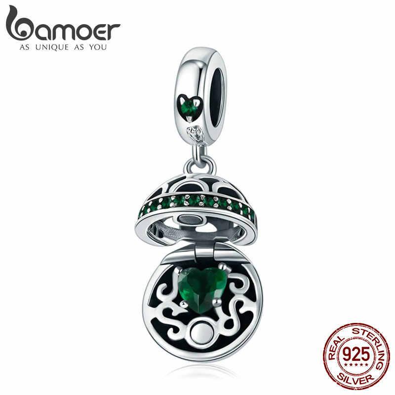 BAMOER autentyczne 925 Sterling srebrne dla zakochanych pudełko Dangle Ball urok wisiorek fit kobiety Charm bransoletka i naszyjniki biżuteria SCC689