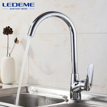 LEDEME Kitchen Faucet Pull Out Spray Rotary Brushed Sink Mixer Tap Single Handle Deck Mounted Hot And Cold Water L4051