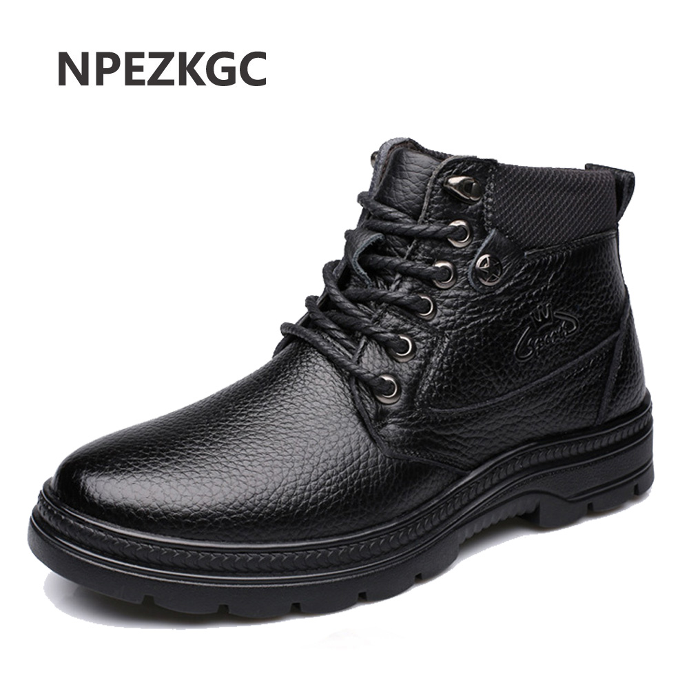 NPEZKGC 2019 Man's Genuine Leather Boots Winter Snow Shoes Wool Inner Anti Slip Father Ankle Boots Waterproof Man Snow Boots