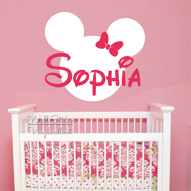 Custom girls name wall sticker girls name mini wall decal kids room name sticker cut vinyl