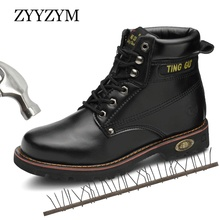 ZYYZYM Men Safety Boots Steel Toe Shoes Industrial & Construction Outdoors Man Work Anti-piercing Protection