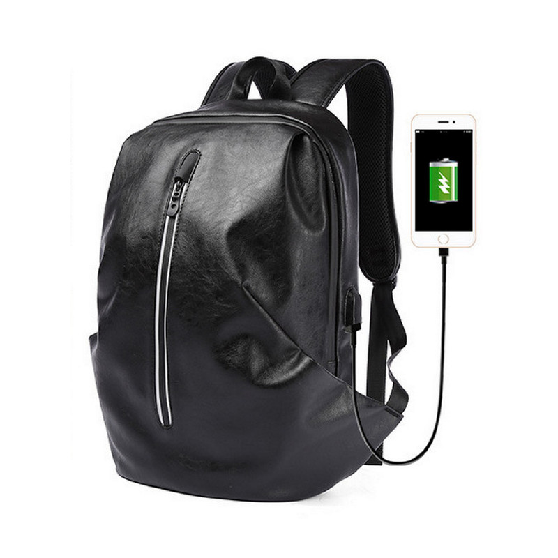 Brand School Backpack Male Casual Black PU Leather Travel USB Charge Business 14 Inch Men Laptop Backpacks For Teelagers 6032Brand School Backpack Male Casual Black PU Leather Travel USB Charge Business 14 Inch Men Laptop Backpacks For Teelagers 6032