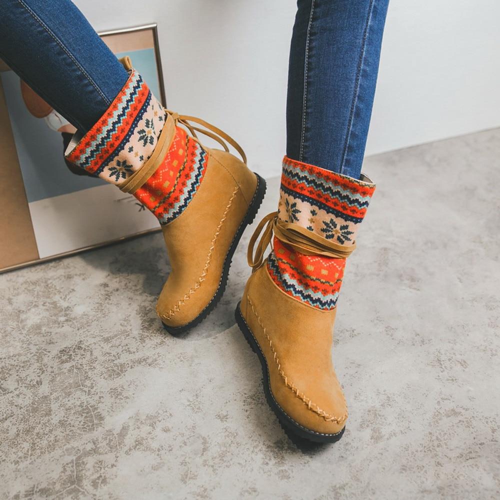 De Invierno Retro marrón Medio vino El Tinto Nieve Mujer Las Tubo Moda corto Zapatos Rancho Mujeres amarillo Negro 2019 Encaje Botas xXwPTfw5q