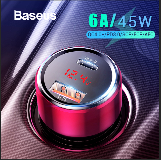 Baseus 45 W de carga rápida 4,0 USB 3,0 cargador de coche para Xiaomi mi Huawei sobrecargar SCP QC4.0 QC3.0 rápido PD cargador de teléfono USB C para coche