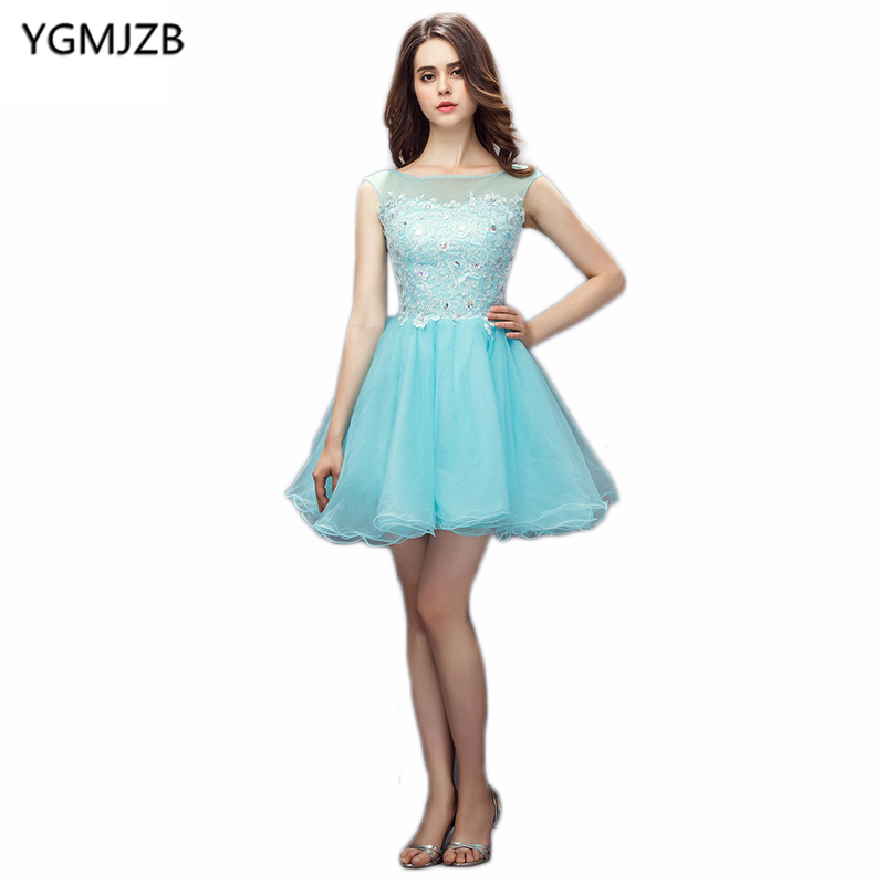 New Arrival   Cocktail     Dresses   2019 A Line Sheer Scoop Neck Beaded Appliques Lace Short   Dress   Women Formal Party   Cocktail     Dress