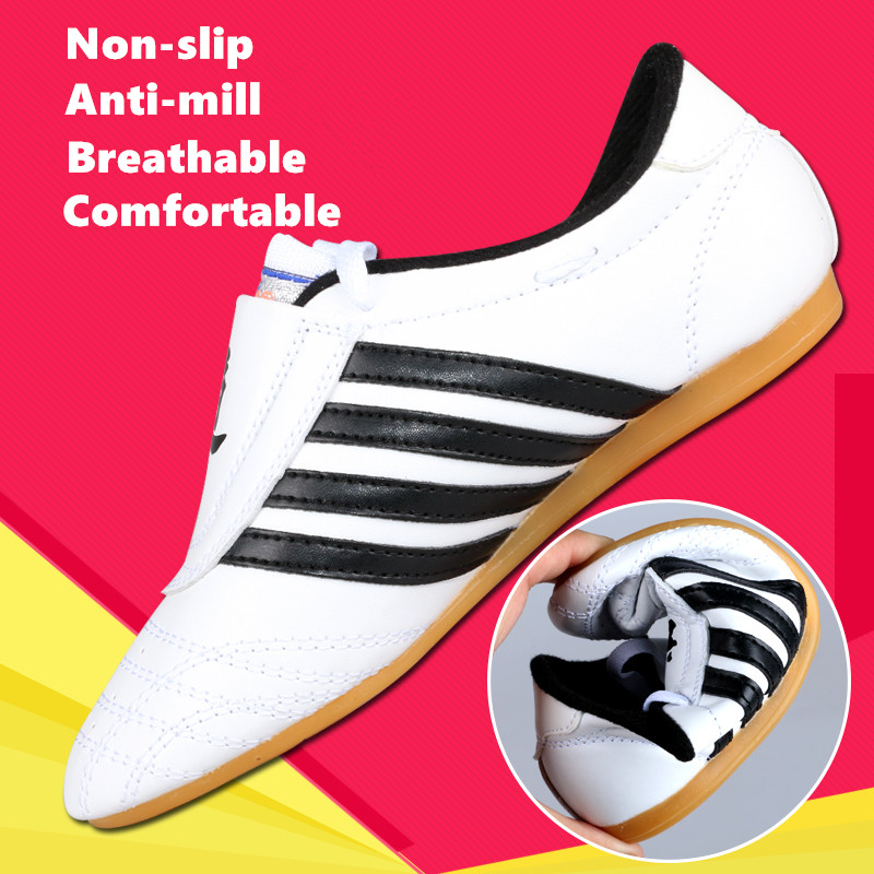 Good taekwondo shoes for male Female kids Adult WTF PU leather Breathable Taekwondo protectors kung fu Shoes martial arts shoes shoes real cowhide against the stench martial arts kung fu shoes figure end of antiskid beef tendon yin and yang