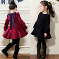 Free shipping fall/winter clothes girls bow thick velvet long-sleeved dress children clothing