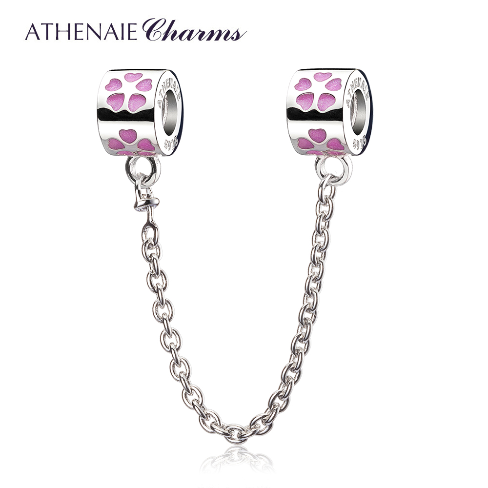 ATHENAIE 925 Sterling Silver Enamel Love Conection Safety Chain Charms Bead Fit European Women Bracelets Color