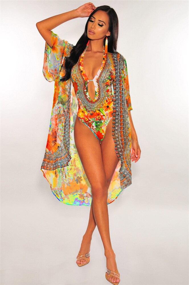 Two Piece Bikini Set Women Beach Bathing Suit One Piece Bikini Set With Cover Up Sexy Swim Suit Floral Printing Beachwear