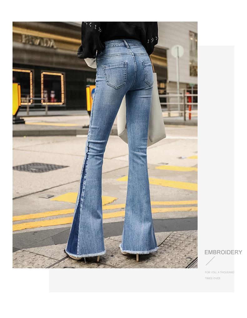 Jeans Nouveaux Taille Femelle Offre Cru Long Bleu Haute Élastique Pantalon Spéciale Stretch Slim K410 Lavé Femmes ESHTxFq