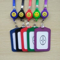 10pcs Lot Vertical Smile Face Retractable Badge Reel Neck Lanyard ID Business Name Card Case Badge