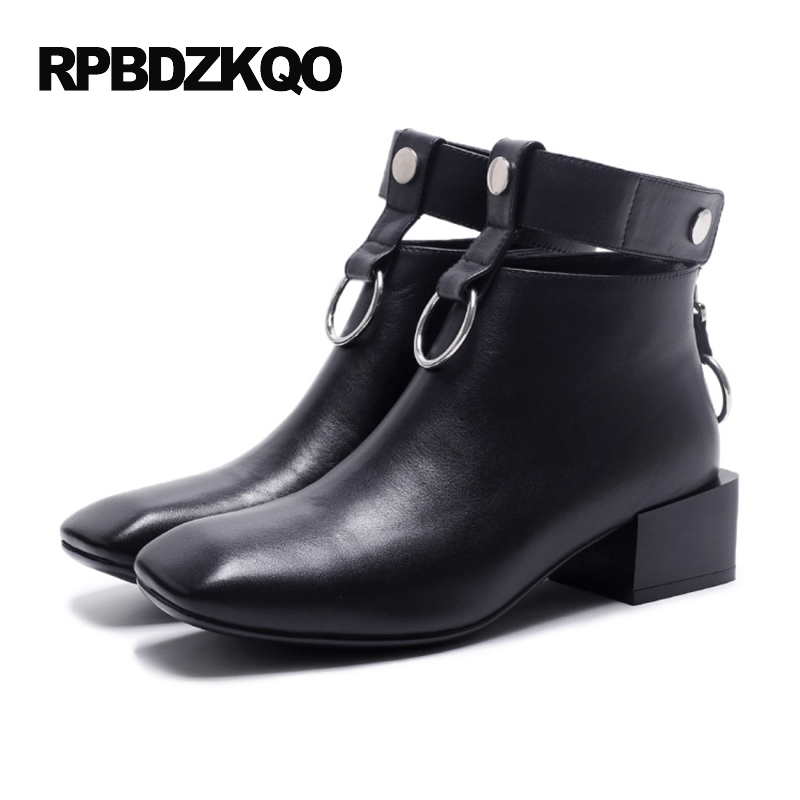 Shoes Waterproof Booties Short Brand Celebrity Square Toe Black Metal Chunky Belts Fall Designer Women Ankle Boots Medium Heel women ankle boots medium heel genuine leather booties vintage thick suede round toe chunky shoes slip on platform brown fall