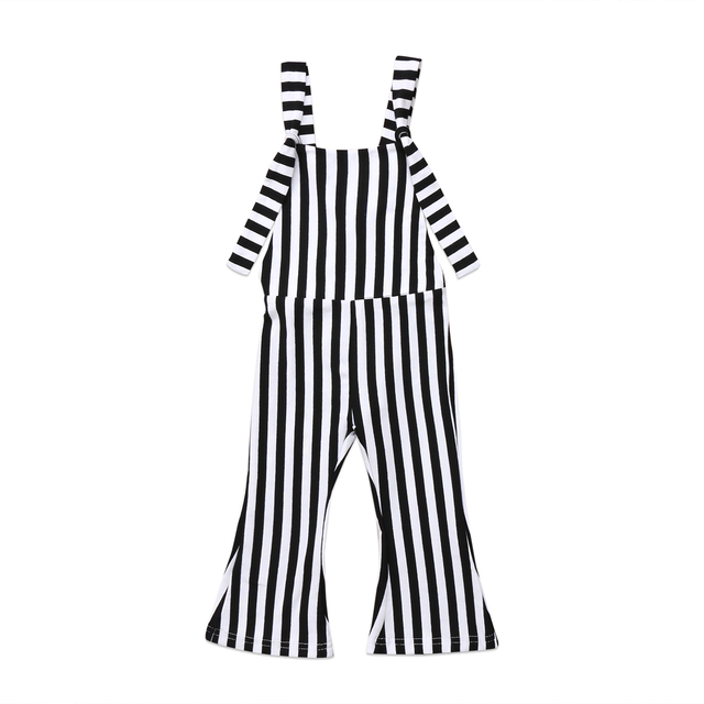 4957b4c00 Summer Kids Baby Girl Striped Bell Bottom Pants Overalls One Pieces ...