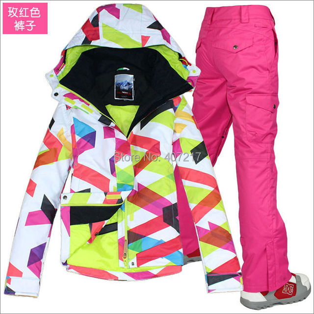 2017 top quality womens ski suit ladies snowboarding suit skiing suit for women colorful curves jacket + rose red pants skiwear