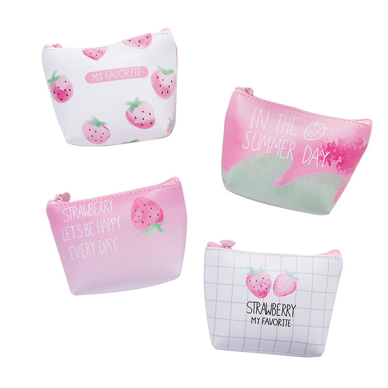 BLEVOLO Creative Cute Strawberry Women Coin Purse PU Student Short Wallet Mini Zipper Small Purses Key Bag 4 Styles pacgoth creative pvc waterproof cute carton candy color purse dessert donuts summer sweet hearts zipper coin purses money bag