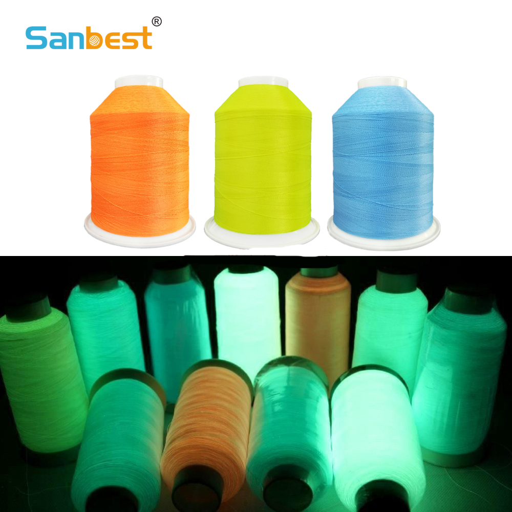 Sanbest Glow In Dark Luminous Machine Embroidery Thread DIY Sewing Thread Polyester 3000M 150D/2 12 Colors Optional TH00029