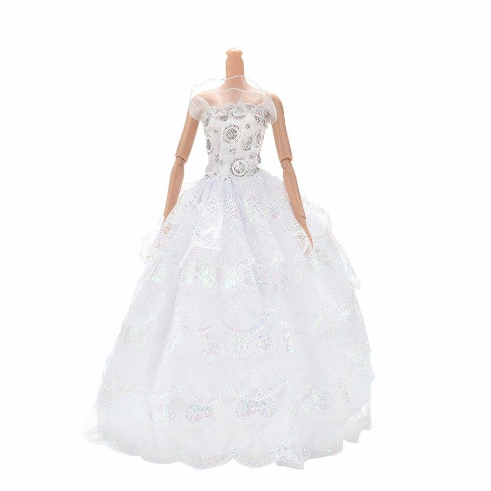 Buy luxury white handmade doll wedding for Barbie wedding dresses for sale