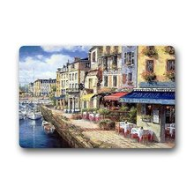 Memory Home Fashion European Style Doormat Most Beautiful French Cassis Coast Cafe Watercolor Painting Doormat Door Mat Decor(China)
