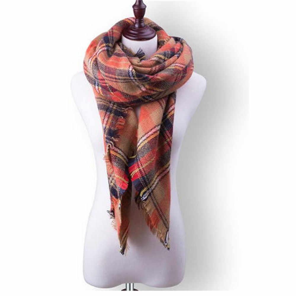 2ac8b3a3ed7f 2018 bufanda de punto para mujer de primavera e invierno a cuadros bufandas  de Cachemira chales de lujo de marca de cuello bandana pashmina para mujer