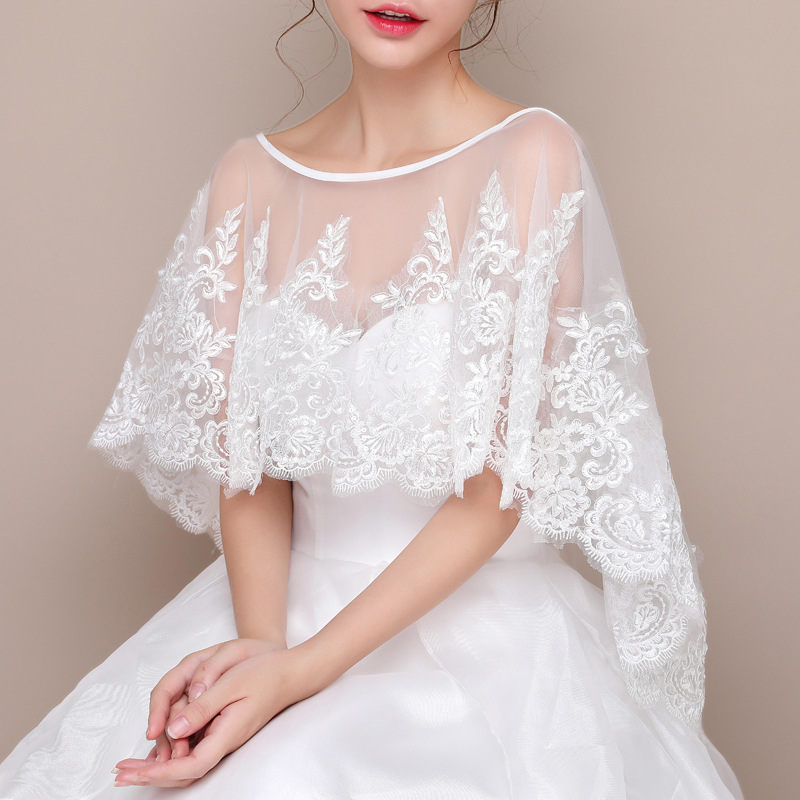 Wedding Dress Shawl Round Collar Cloak