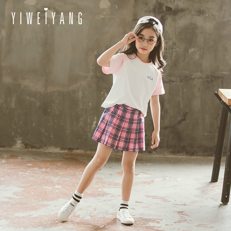 Women go well with 2018 summer season youngsters's sports activities go well with cuhk brief sleeve plaid skirt go well with Household matching outfits Matching Household Outfits, Low-cost Matching...
